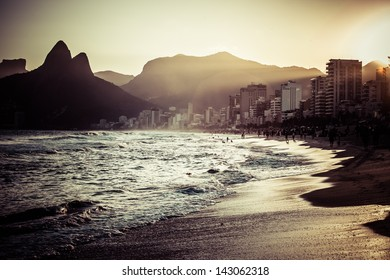 View of Ipanema Beach in the evening, Brazil