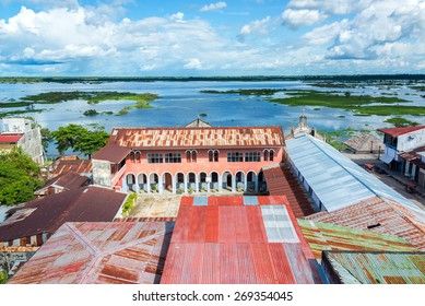 View of Iquitos, Peru with the Itaya River in the background in the Amazon Rainforest.  Iquitos is the largest city in the world with no road connection.