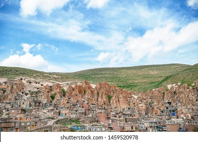 View of Iranian ancient cave troglodyte village Kandovan in East Azerbaijan. Iran. Province near Tabriz city. looks like village in Turkey, selective focus