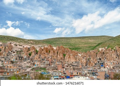 View of Iranian ancient cave troglodyte village Kandovan in East Azerbaijan. Iran. Province near Tabriz city. looks like village in Turkey