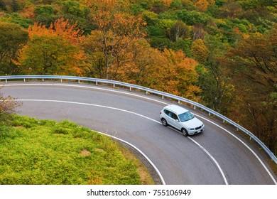 View at Irohazaka, Autumn season, Nikko, Japan
