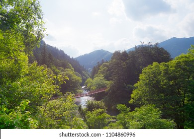View of the ishibune bridge at the Akigawa valley in the west of Tokyo, Japan