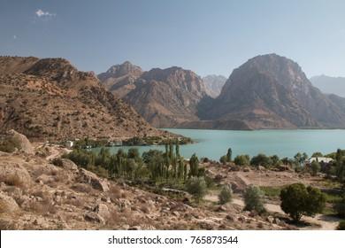 View of Iskanderkul, Gissar Range, Fann Mountains, Tajikistan, Central Asia