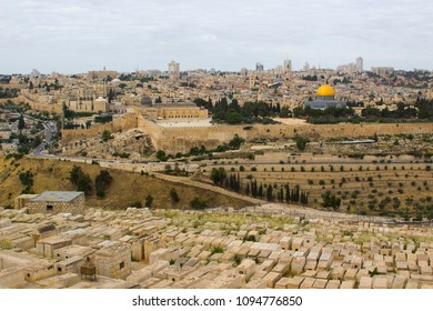 A view of the Islamic Dome of the Rock mosque from the ancient Mount of Olives situated to the East of the old city of Jerusalem