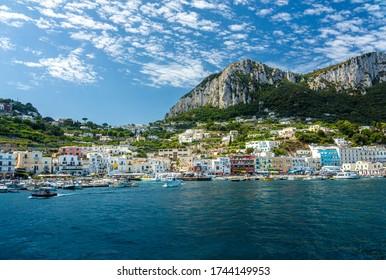 View of the Island of Capri, Amalfi Coast, Italy, Europe