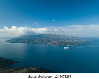 view of the island of Corfu Greece from the Albanian coast (Greek Island, Albanian Riviera)