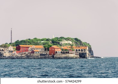 View of the island of Goree, from the sea. Senegal. Gorée is famous as a destination for people interested in the Atlantic slave trade.  is a UNESCO World Heritage Site.