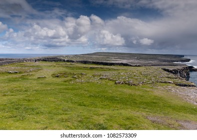 View of the island of Inishmore (Inis Mor) from close to the wall of the inner enclosure of Dun Aonghasa (Dun Aengus), Inishmore, the Aran Islands, County Galway, Ireland.