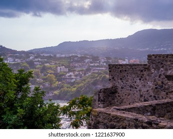 View of the Island of Ischia from the Aragonese Castle. In Ischia, Italy