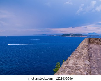 View of the Island of Ischia from the Aragonese Castle. In Ischia, Gulf of Naples, Italy