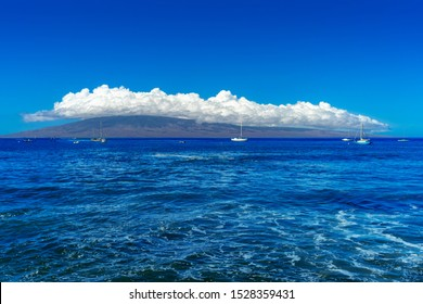 View of the island of Lanai from coast of Lahaina in Muai, Hawaii.