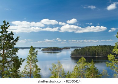 View from the island Linnansaari National Park in Finland for thousands of lakes - small island in the middle of the lake