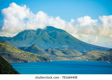 View of the island of Nevis from the South end of St Kitts in the Caribbean.