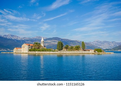 The view of Island Of Saint George (Ostrvo Sveti Đorđe) in Montenegro in the Bay of Kotor next to Perast town from a boat.