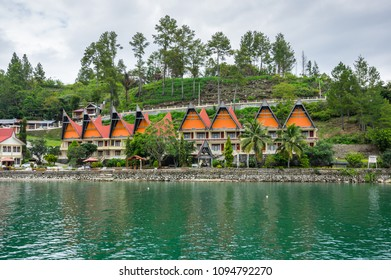 View of island Samosir on Lake Toba, located in the middle of the northern part of the Indonesian island of Sumatra, Indonesia