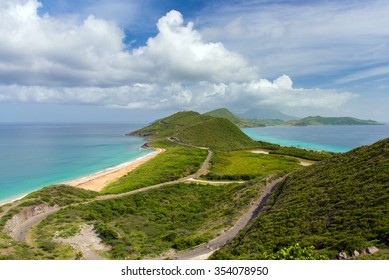 view of the island St.Kitts. Atlantic ocean on the one side, the Caribbean sea on the other