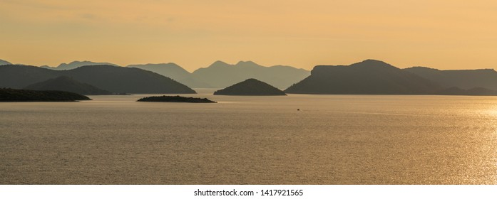 View of islands in the Adriatic Sea from near Trsteno, Dubrovnik Riviera, Croatia, Europe 1-5-2019
