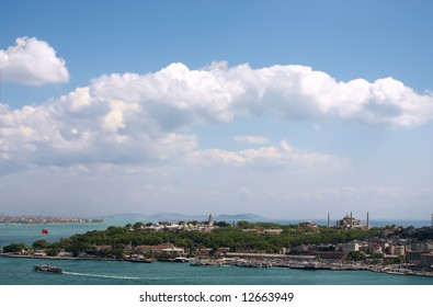 View of Istambul from Galata tower over blue sky