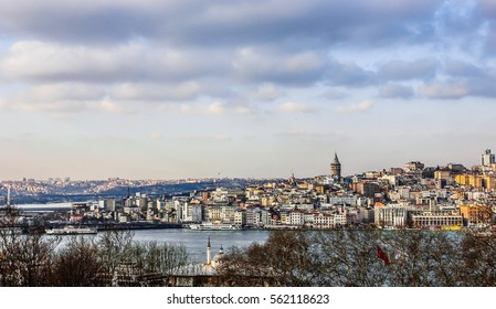 View of Istanbul and Bosphorus Strait, Turkey.