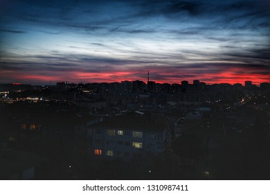 view of istanbul city at sunset