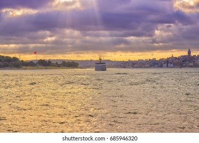 View of Istanbul from cloudy cays, purple filter applied