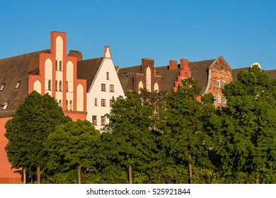 View to istorical building in Rostock, Germany.