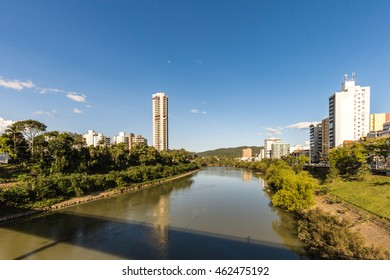 View of Itajai river at Blumenau, Santa Catarina. Brazil