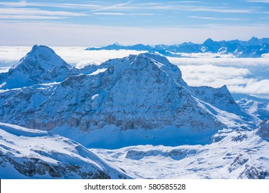 View of Italian Alps from Plateau Rosa in the Aosta Valley region of northwest Italy.