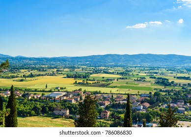 View of the italian countryside from a viewpoint in the town of Spello, Umbria