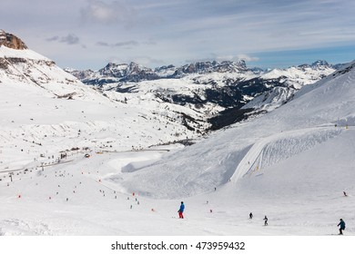 View of the Italian Dolomites in winter