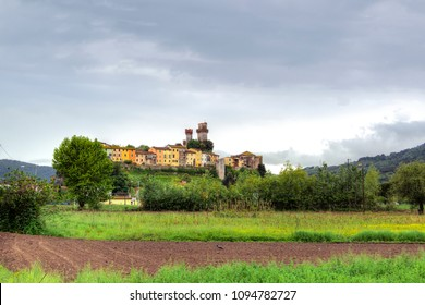 View of the Italian Fortress Castello di Nozzano which guarded the border between the areas of the Tuscan city of Lucca and Pisa