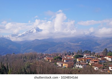View from the italian medieval town, Barga and towards the snowy the Tuscan-Apennine hills