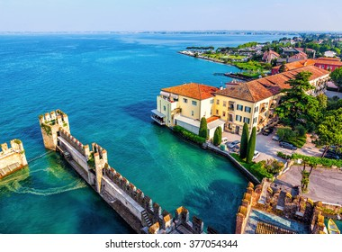 View of the Italian town of Sirmione and Lake Garda from the tower Scaliger