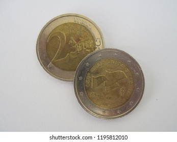 View of Italian two euro coin. Italy 2 euro – 150th anniversary of unification of Italy. Great for numismatic collection.