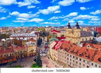 view to Ivano-Frankivsk from a bird's eye view with blue sky on the background