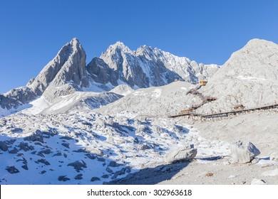 View of Jade Dragon Snow Mountain. Jade Dragon Snow Mountain is a mountain near Lijiang, in Yunnan province, southwestern China.