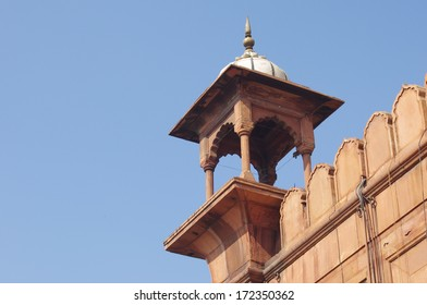 View of Jama Masjid minaret (detail). It is the largest and best-known mosque in India.