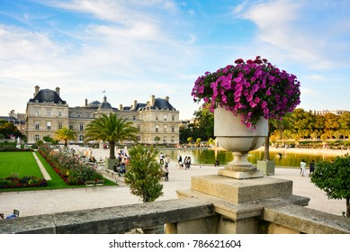 View of Jardin du Luxembourg with the flower pot and the Luxembourg Palace, Paris, France. The Luxembourg gardens, located in the centre of the city, are a popular tourist attraction