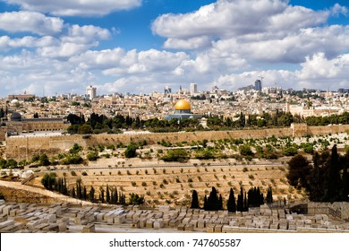 View of Jerusalem and the Dome of the Rock from the Mount of Olives, Israel, Middle East