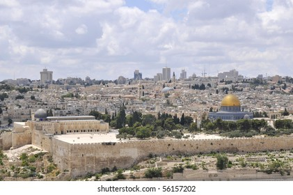 View of Jerusalem Old City from Olives Mountain