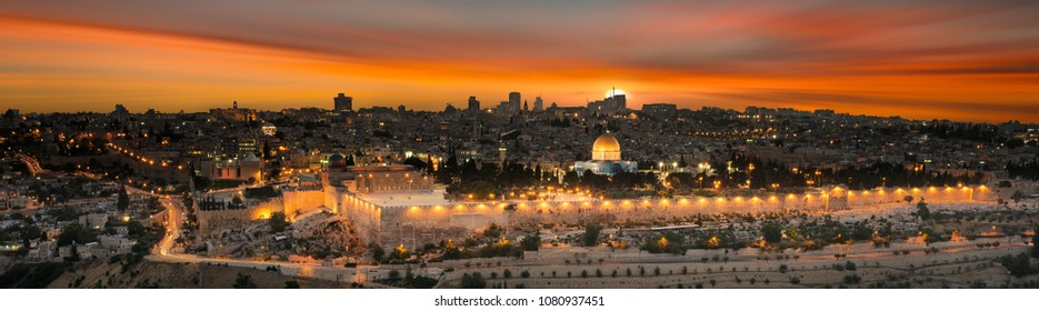 View to Jerusalem old city at sunset. Israel