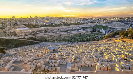 View to Jerusalem old city temple mount and the ancient Jewish cemetery in Olive mountain at sunset, Israel.