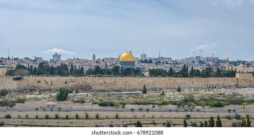 View of Jerusalem old city wall and the Dome of the Rock from the Mount of Olives, Israel