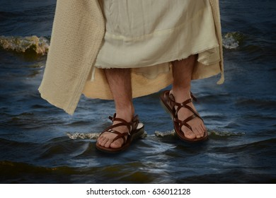View of Jesus feet walking on the water
