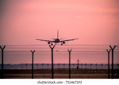 View of a jet passanger airplane landing at sunset
