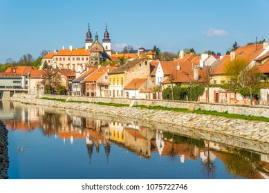 View at the Jewish quarter with Jihlava river in Trebic - Czech republic,Moravia