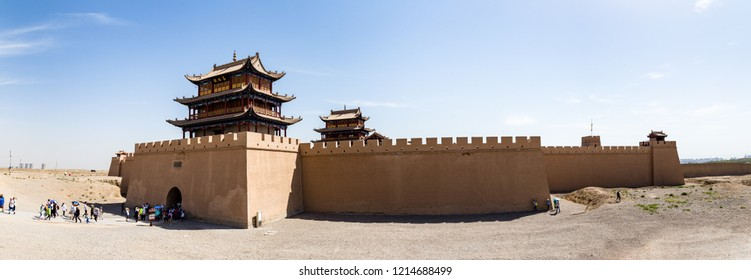 """View of Jiayuguan Fort from the gate facing the Gobi desert, Gansu, China. Known as """"first pass under the heaven"""", Jiayu Pass was the most western fort of ancient china on the silk road"""