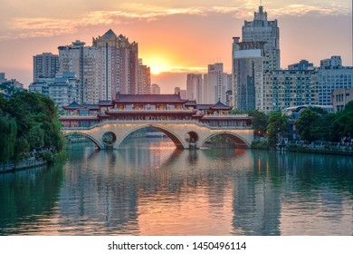 View of Jin Jiang, An Shun Lang Qiao and River Band buildings in Chengdu downtown. Chengdu is the largest city in South West China.