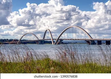 View of JK Bridge during a sunny autumn afternoon. Brasilia capital of Brazil.