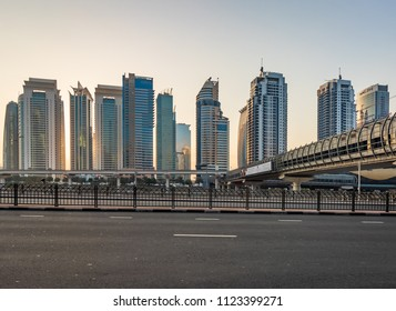 View of JLT Skyline from Dubai Marina. Dubai - UAE. 2 December 2